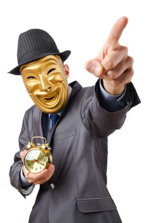 Masked man with clock on white photo