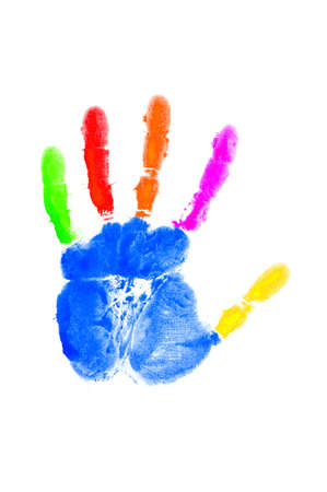painted image: Hand print on the white