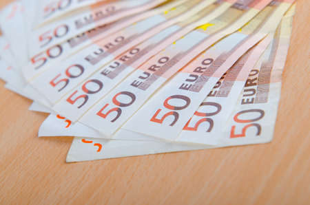 credit union: Euro banknotes arranged in set Stock Photo