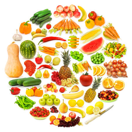 Circle with lots of food items Stock Photo