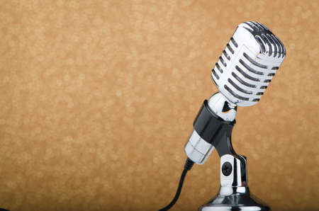 micro recording: Old vintage microphone on background