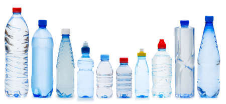 plastic: Many water bottles isolated on white