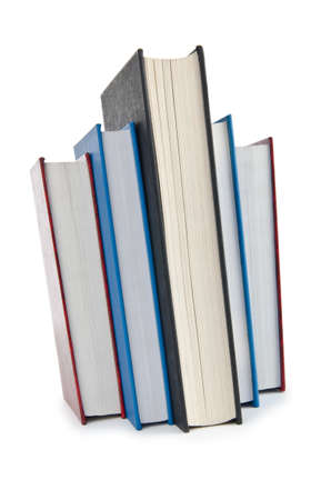 Books in high stack isolated on white Stock Photo - 12504195