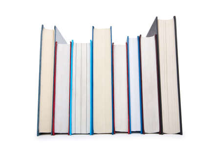 Books in high stack isolated on white Stock Photo - 12504322