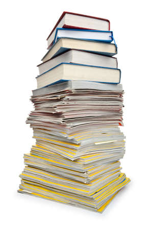 Books in high stack isolated on white Stock Photo - 12519493