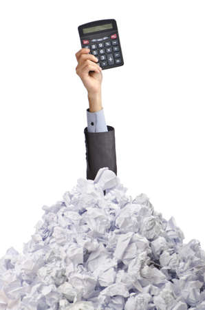 accountants: Man with lots of crumpled paper Stock Photo