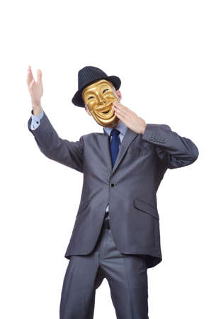 impostor: Businessman with mask concealing his identity
