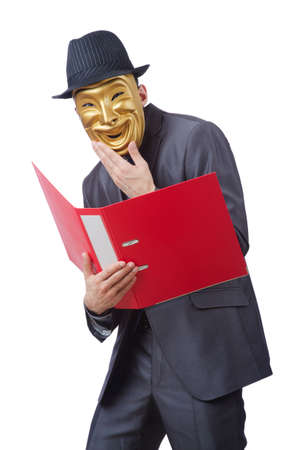 Espionage concept with masked man on white Stock Photo - 12531743