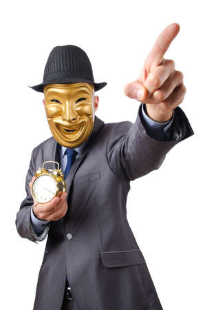 impostor: Masked man with clock on white Stock Photo