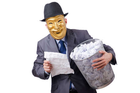 espionage: Espionage concept with masked man on white Stock Photo