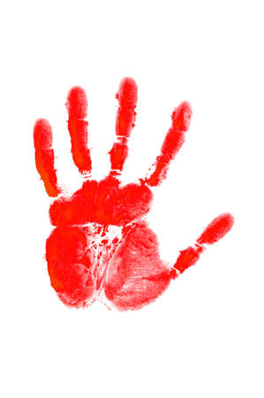 Hand print on the white Stock Photo - 12504422