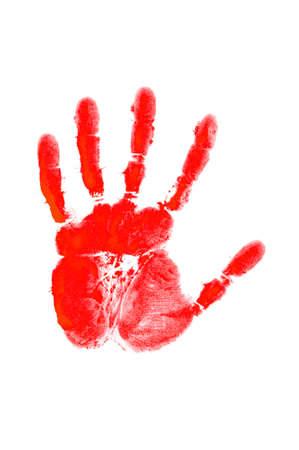 empreinte de main: Hand print sur le blanc