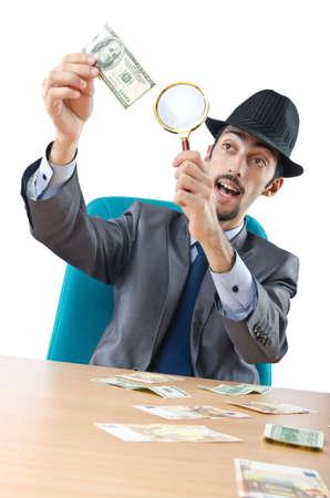 dinero falso: Detective detección de billetes falsos en dólares
