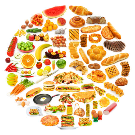 piramide alimenticia: Círculo con una gran cantidad de productos alimenticios