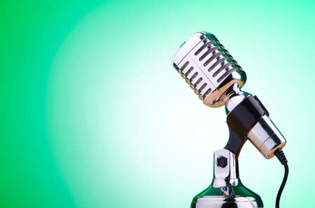 Vintage microphone against the background Stock Photo