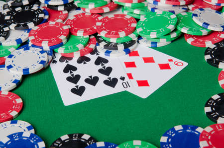 Casino concept with chips and cards photo