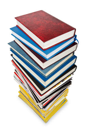 Books in high stack isolated on white Stock Photo - 12581064