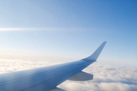 airplane window: Wing of airplane from window