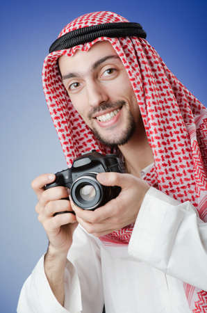 Arab photographer in studio shooting Stock Photo - 12587212