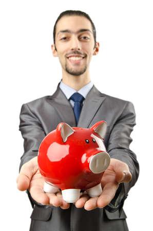 Piggybank and man on white Stock Photo - 12586660