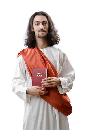 Jesus Christ personifacation isolated on the white photo