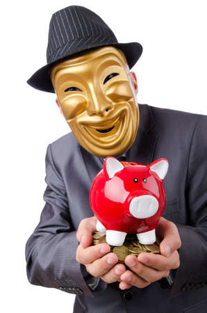 Man with piggybank on white Stock Photo - 12581204