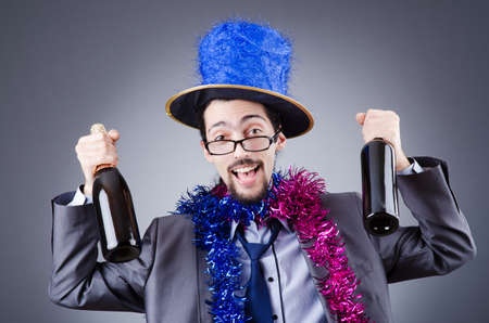 drunk party: Magician in the business suit Stock Photo
