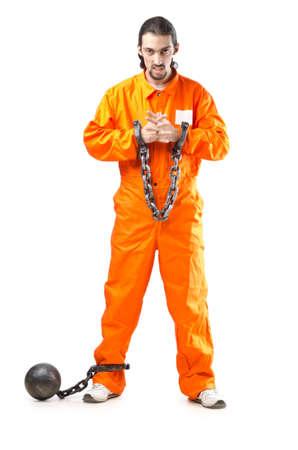 inmate: Criminal in orange robe in prison