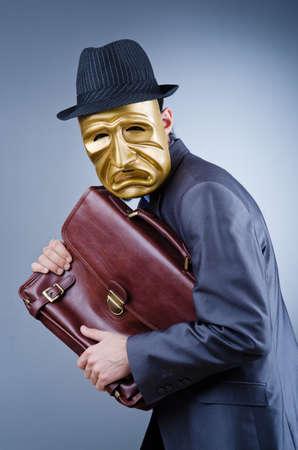 espionage: Businessman in industrial espionage concept