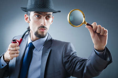 sherlock holmes: Detective with the smoking pipe Stock Photo