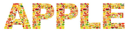 Word made of many fruits photo