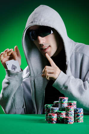 texas hold em: Player in casino and chips Stock Photo