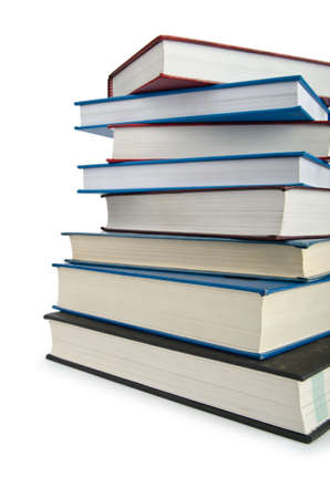 Books in high stack isolated on white Stock Photo - 12714910