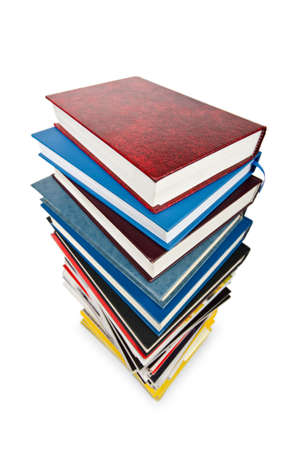 Books in high stack isolated on white Stock Photo - 12714961