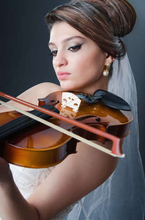 Beautiful bride in studio shooting photo