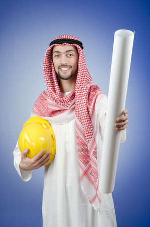 Arab engineer with drawings Stock Photo - 12740256