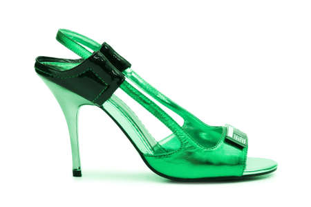 Green Female shoes on white background photo