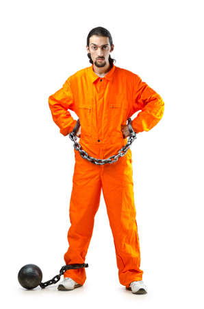 Convict with handcuffs on white Stock Photo - 12740067