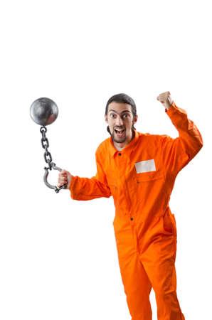 Criminal in orange robe in prison Stock Photo - 12740061