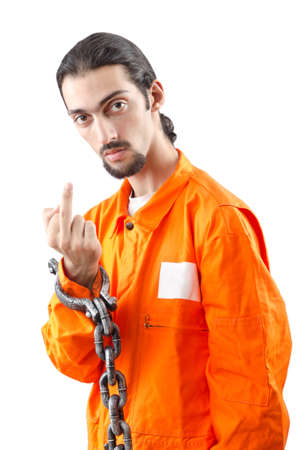 Criminal in orange robe in prison Stock Photo - 12740300