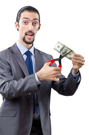 Man cutting money on white photo