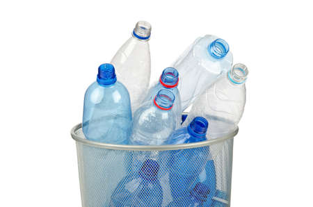 pile reuse: Empty plastic water bottles on white Stock Photo