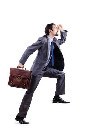 Businessman climbing virtual ladder photo