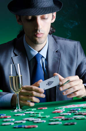 roulette player: Player in casino and chips Stock Photo