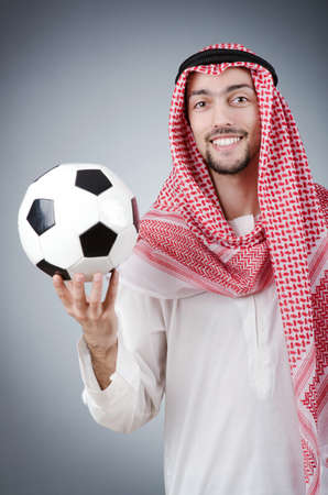 arab business: Arab with football in studio shooting