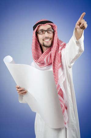 Arab engineer with drawings Stock Photo - 12873525