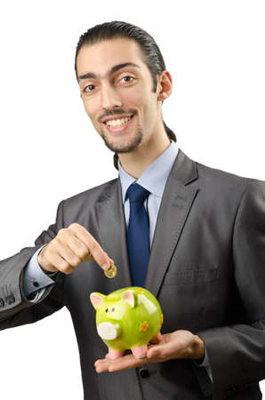 Piggybank and man on white photo