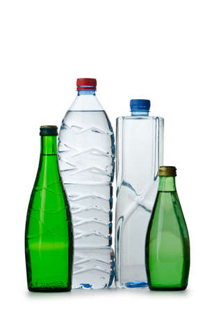 Drinking Water in bottles on white photo