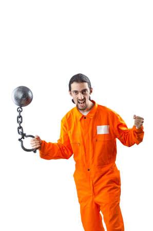 Convicted criminal on white background Stock Photo - 12873364