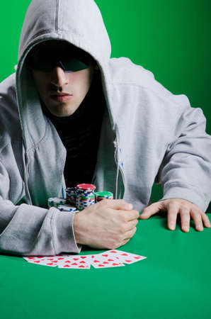 Player in casino and chips Stock Photo - 13063275